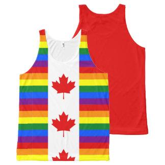 Regata Com Estampa Completa Bandeira canadense de Canadá do arco-íris do