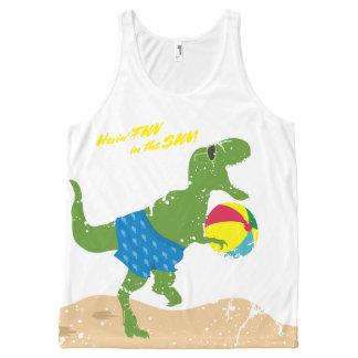Regata Com Estampa Completa Bola de praia engraçada do verão do dinossauro do