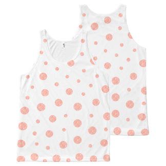 Regata Com Estampa Completa Bolinhas elegantes - branco cor-de-rosa macio do