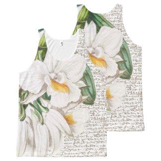 Regata Com Estampa Completa Caligrafia branca das orquídeas