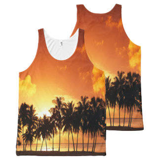 Regata Com Estampa Completa Camisa da palma do por do sol
