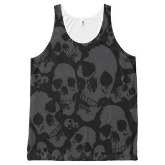Regata Com Estampa Completa Camisa escura dos crânios do impressão completo