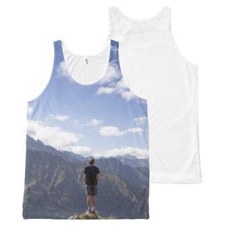 Regata Com Estampa Completa Camisa masculina do viajante para o verão