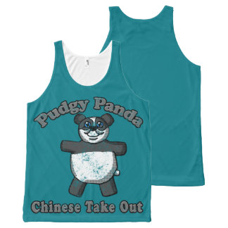 Regata Com Estampa Completa Camisa Pudgy da panda do vintage