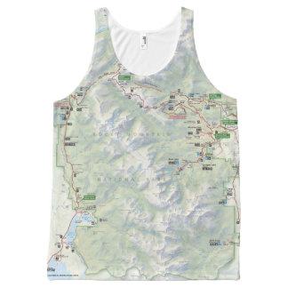 Regata Com Estampa Completa Camisa unisex do mapa da montanha rochosa