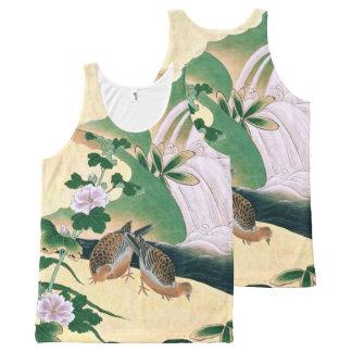 Regata Com Estampa Completa Camisola de alças asiática das flores dos pássaros