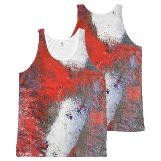 Regata Com Estampa Completa Camisola de alças branca vermelha do abstrato do
