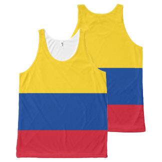 Regata Com Estampa Completa Camisola de alças da bandeira de Colômbia