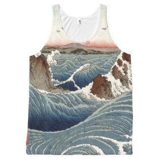 Regata Com Estampa Completa Camisola de alças da costa de mar das ondas de
