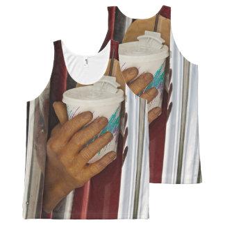 Regata Com Estampa Completa Camisola de alças da exposição do carro das