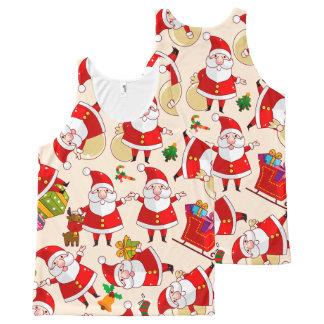 Regata Com Estampa Completa Camisola de alças de Papai Noel do Feliz Natal