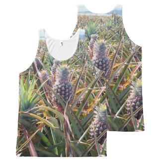 Regata Com Estampa Completa Camisola de alças do campo do abacaxi