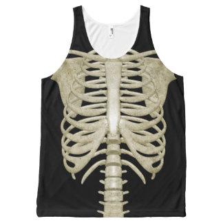 Regata Com Estampa Completa Camisola de alças do esqueleto do traje do partido