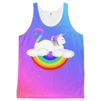 Regata Com Estampa Completa Camisola de alças do gato do arco-íris do