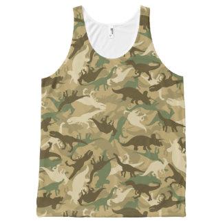 Regata Com Estampa Completa Camisola de alças do impressão do dinossauro da