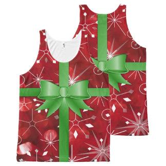 Regata Com Estampa Completa Camisola de alças do papel de embrulho do Natal