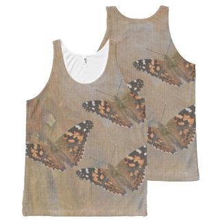 Regata Com Estampa Completa Camisola de alças do trio da borboleta