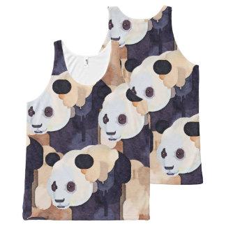 Regata Com Estampa Completa Camisola de alças do verão: Panda do sorvete