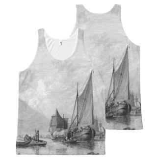 Regata Com Estampa Completa Camisola de alças dos navios dos barcos de Thames