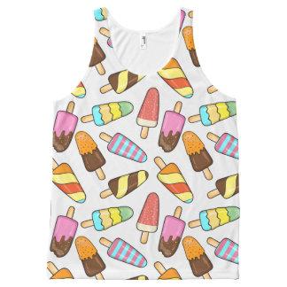 Regata Com Estampa Completa Camisola de alças dos Popsicles do sorvete