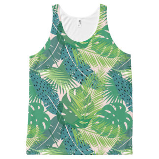 Regata Com Estampa Completa Camisola de alças em folha de palmeira abstrata do
