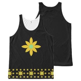 Regata Com Estampa Completa Camisola de alças floral da margarida amarela