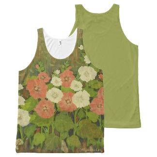 Regata Com Estampa Completa Camisola de alças floral Vermelho-Branca