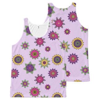 Regata Com Estampa Completa Camisola de alças roxa do jardim da mandala da