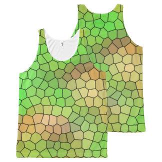 Regata Com Estampa Completa Camisola de alças verde do teste padrão de mosaico