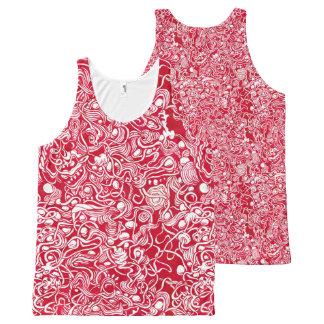 Regata Com Estampa Completa Camisola de alças vermelha Nestled do Doodle da