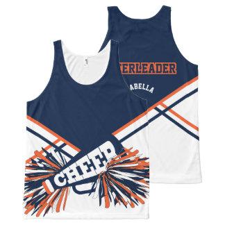Regata Com Estampa Completa Cheerleader - laranja & azuis marinhos