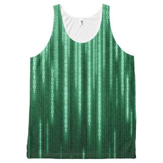 Regata Com Estampa Completa Chuva binária verde por todo o lado na camisola de
