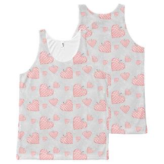 Regata Com Estampa Completa Coração cor-de-rosa