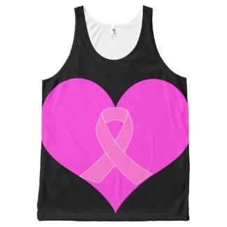 Regata Com Estampa Completa Coração e design da caridade do cancro da mama da