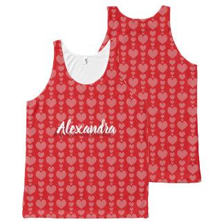 Regata Com Estampa Completa Corações cor-de-rosa vermelhos do t-shirt do dia
