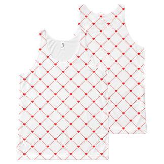 Regata Com Estampa Completa Corações vermelhos por todo o lado na camisola de