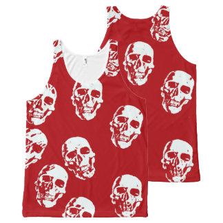 Regata Com Estampa Completa Crânios modernos vermelhos