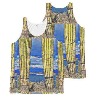 Regata Com Estampa Completa Da coluna agradável do Saguaro do lago camisola de