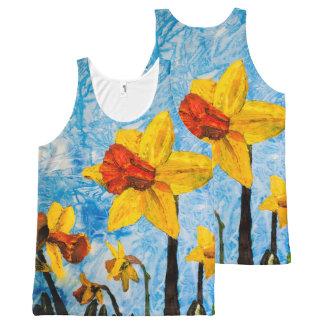 Regata Com Estampa Completa Daffy Daffs da camisola de alças do primavera