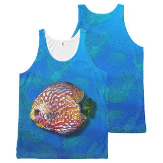 Regata Com Estampa Completa Desenho exótico colorido psicadélico dos peixes do