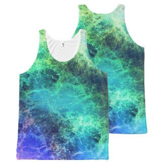 Regata Com Estampa Completa Espaço verde das chamas azuis da nebulosa