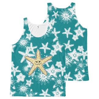 Regata Com Estampa Completa Estrela do mar aguçado amarela engraçada com um