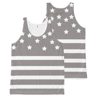 Regata Com Estampa Completa Estrelas & listras cinzentas e brancas