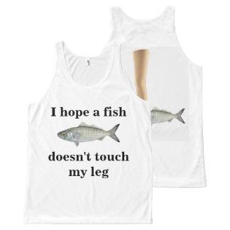 Regata Com Estampa Completa Eu espero que um peixe não toca em meu pé! Eu