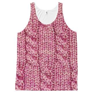 Regata Com Estampa Completa Fio cor-de-rosa malha cabografada