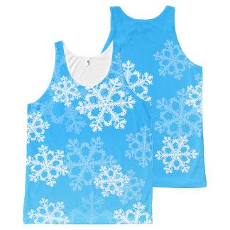 Regata Com Estampa Completa Flocos de neve bonitos do azul e do White