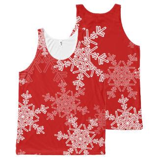 Regata Com Estampa Completa Flocos de neve bonitos do vermelho e do White