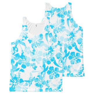 Regata Com Estampa Completa Floral tropical pintado azul