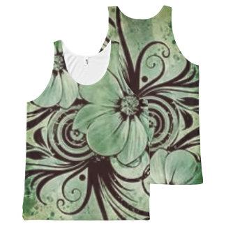 Regata Com Estampa Completa Floral verde do vintage com redemoinhos