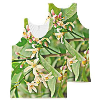 Regata Com Estampa Completa Flores da árvore Apple da camisola de alças unisex